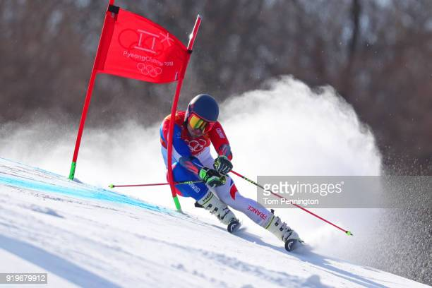 Mathieu Faivre of France competes during the Alpine Skiing Men's Giant Slalom on day nine of the PyeongChang 2018 Winter Olympic Games at Yongpyong...