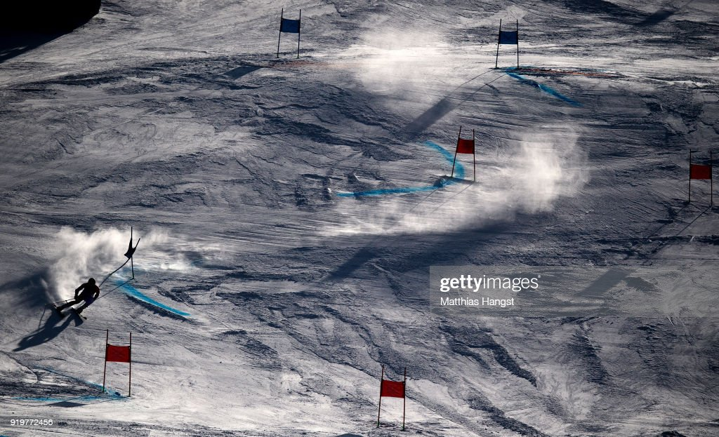 Mathieu Faivre of France competes during the Alpine Skiing Men's Giant Slalom on day nine of the PyeongChang 2018 Winter Olympic Games at Yongpyong Alpine Centre on February 18, 2018 in Pyeongchang-gun, South Korea.