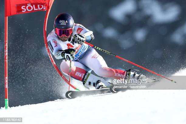 Mathieu Faivre of France competes during the Audi FIS Alpine Ski World Cup Men's Giant Slalom at Rettenbachferner on October 27, 2019 in Soelden,...
