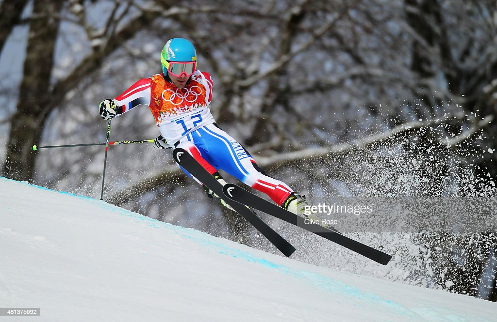 Mathieu Faivre of France in action during the Alpine Skiing Men's Giant Slalom on day 12 of the Sochi 2014 Winter Olympics at Rosa Khutor Alpine Center on February 19, 2014 in Sochi, Russia.