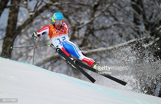 Mathieu Faivre of France in action during the Alpine Skiing Men's Giant Slalom on day 12 of the Sochi 2014 Winter Olympics at Rosa Khutor Alpine...