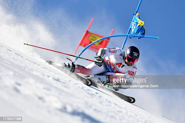 Mathieu Faivre of France in action during the Audi FIS Alpine Ski World Cup Men's Giant Slalom on October 27, 2019 in Soelden, Austria.