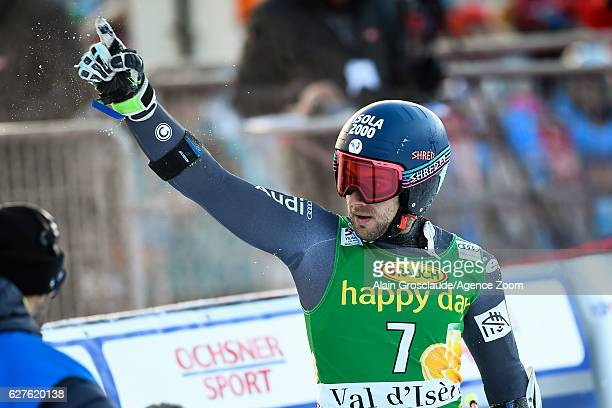 Mathieu Faivre of France takes 1st place during the Audi FIS Alpine Ski World Cup Men's Giant Slalom on December 4 2016 in Val d'Isere France