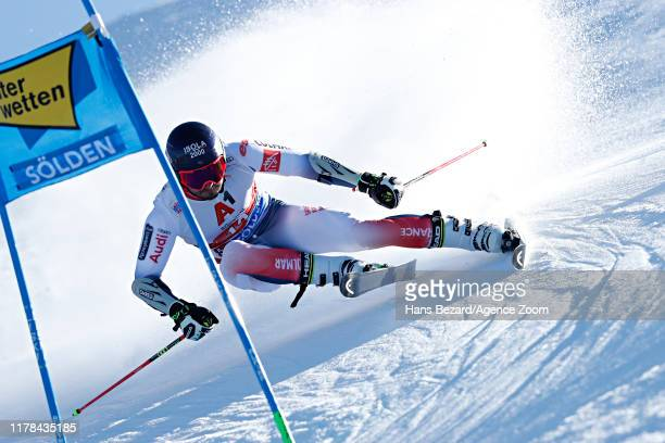 Mathieu Faivre of France takes 2nd place during the Audi FIS Alpine Ski World Cup Men's Giant Slalom on October 27, 2019 in Soelden, Austria.