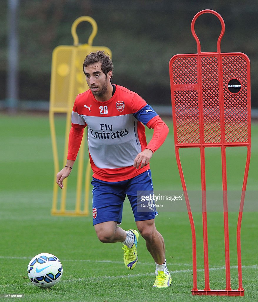 Mathieu Flamini of Arsenal during the Arsenal 1st team training session at London Colney on October 13, 2014 in St Albans, England.