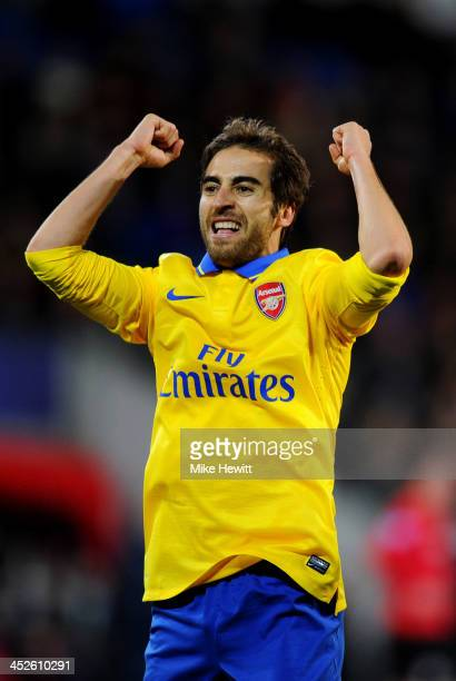 Mathieu Flamini of Arsenal elebrates as he scores their second goal during the Barclays Premier League match between Cardiff City and Arsenal at...