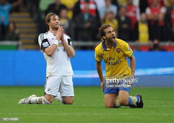 Mathieu Flamini of Arsenal reacts after a foul by Michu of Swansea during the Barclays Premier League match between Swansea and Arsenal at Liberty...