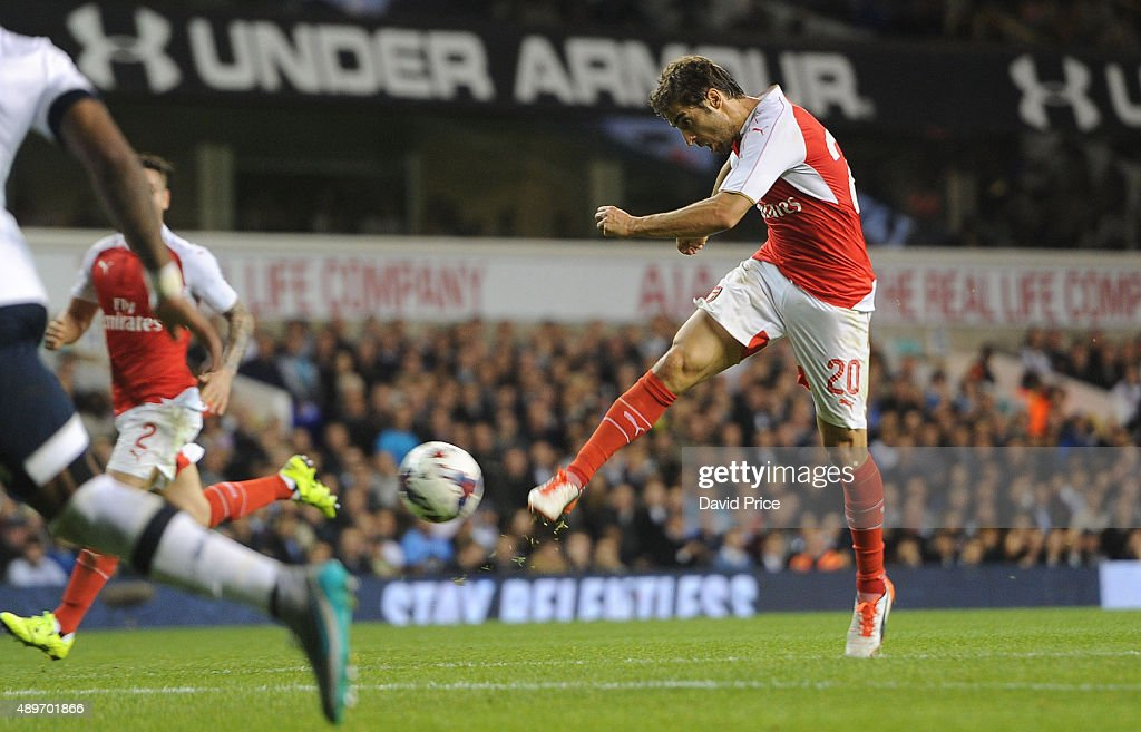 Mathieu Flamini scores his 2nd goal for Arsenal during the match between Tottenham Hotspur and Arsenal in the League Cup at White Hart Lane on September 23, 2015 in London, England.