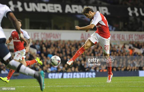 Mathieu Flamini scores his 2nd goal for Arsenal during the match between Tottenham Hotspur and Arsenal in the League Cup at White Hart Lane on...