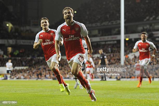 Mathieu Flamini scores the 2nd Arsenal goal during the Capital One Cup Third Round match between Tottenham Hotspur and Arsenal at White Hart Lane on...