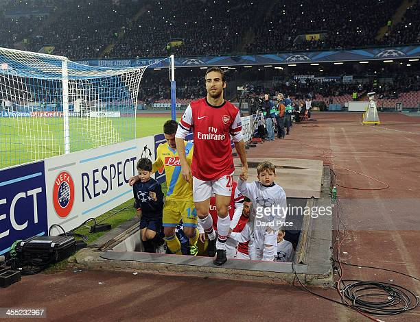 Mathieu Flmaini of Arsenal walks out of the players tunnel before the match Napoli against Arsenal in the UEFA Champions League at Stadio San Paolo...