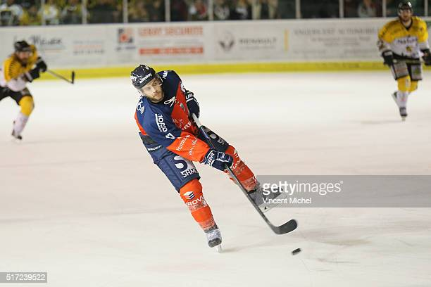 Mathieu Frecon of Angers during the Ice hockey Ligue Magnus Final second game between Les Ducs d'Angers v Les Dragons de Rouen on March 23 2016 in...