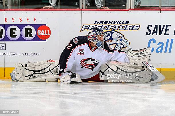 Mathieu Garon of the Columbus Blue Jackets skates against the Nashville Predators on February 27 2011 at the Bridgestone Arena in Nashville Tennessee