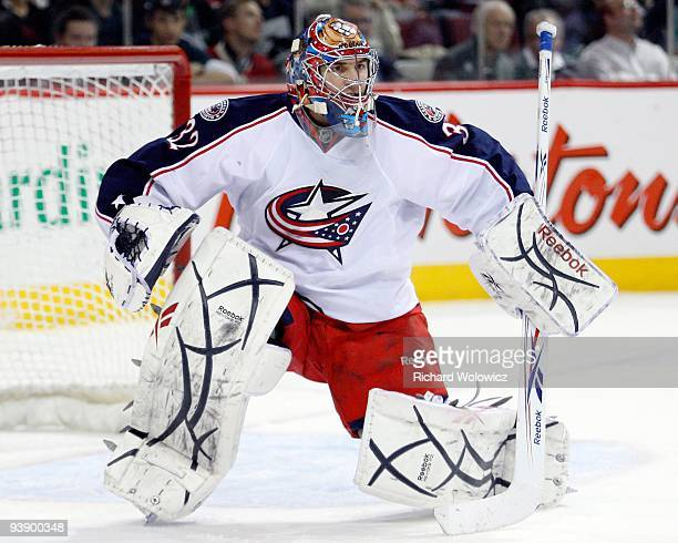 Mathieu Garon of the Columbus Blue Jackets watches play during the NHL game against the Montreal Canadiens on November 24 2009 at the Bell Centre in...