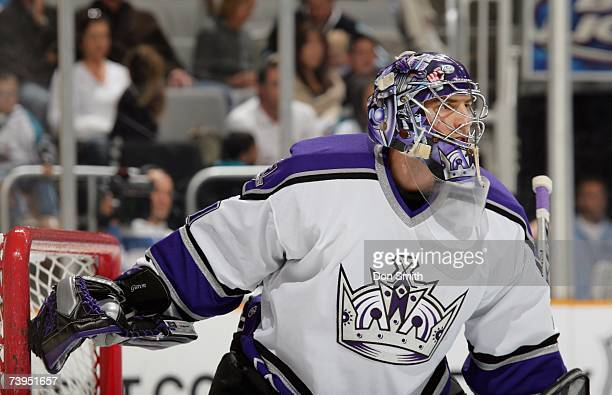 Mathieu Garon of the Los Angeles Kings plays the puck during the NHL game against the San Jose Sharks on April 1 2007 at the HP Pavilion in San Jose...