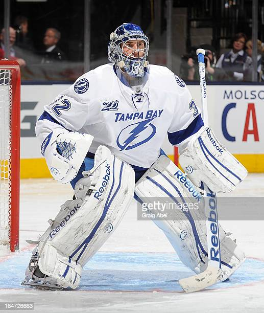 Mathieu Garon of the Tampa Bay Lightning defends the goal during NHL game action against the Toronto Maple Leafs March 20 2013 at the Air Canada...