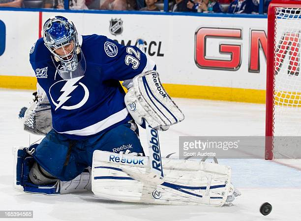 Mathieu Garon of the Tampa Bay Lightning defends the goal during the second period of game against the Florida Panthers at the Tampa Bay Times Forum...