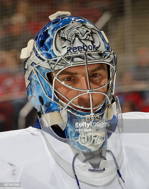 Mathieu Garon of the Tampa Bay Lightning looks on against the New Jersey Devils during the game at the Prudential Center on February 26 2012 in...