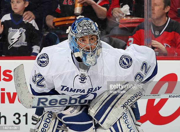 Mathieu Garon of the Tampa Bay Lightning looks on during a timeout against the New Jersey Devils during the game at the Prudential Center on February...