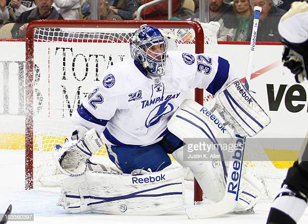Mathieu Garon of the Tampa Bay Lightning protects the net against the Pittsburgh Penguins during the game at Consol Energy Center on March 4 2013 in...