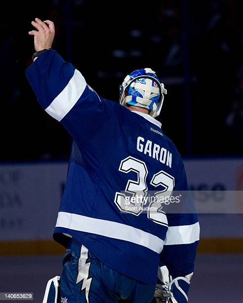 Mathieu Garon of the Tampa Bay Lightning salutes the fans after being named one of the stars of the game against the Montreal Canadiens at the Tampa...