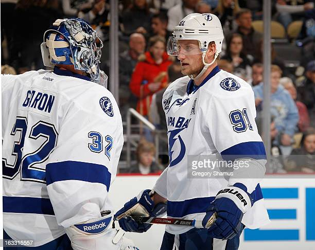 Mathieu Garon of the Tampa Bay Lightning talks with Steven Stamkos during the game against the Pittsburgh Penguins on March 4 2013 at Consol Energy...