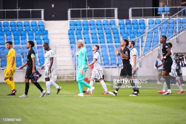 Mathieu GORGELIN of Le Havre, MARQUINHOS of Paris Saint Germain, Keylor NAVAS of Paris Saint Germain, Thilo KEHRER of Paris Saint Germain and Presnel...