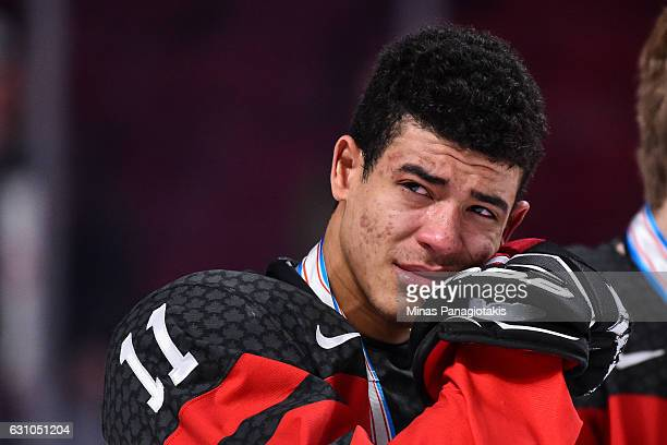Mathieu Joseph of Team Canada reacts after losing in the gold medal game against Team United States during the 2017 IIHF World Junior Championship...