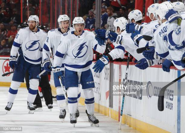 Mathieu Joseph of the Tampa Bay Lightning celebrates scoring his first career NHL goal in a game against the Ottawa Senators at Canadian Tire Centre...