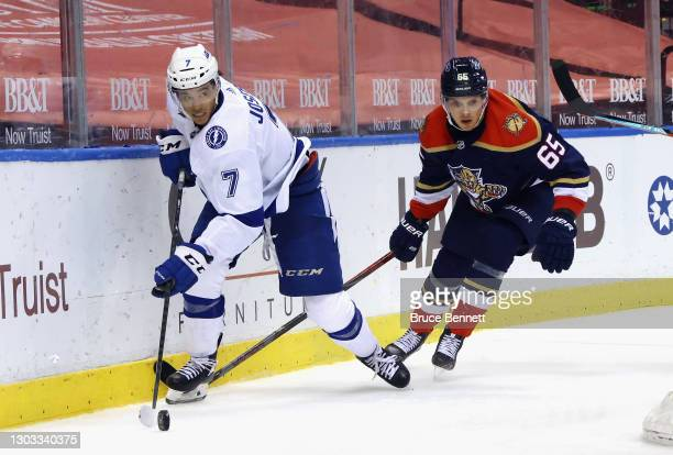 Mathieu Joseph of the Tampa Bay Lightning skates against the Florida Panthers at the BB&T Center on February 13, 2021 in Sunrise, Florida.