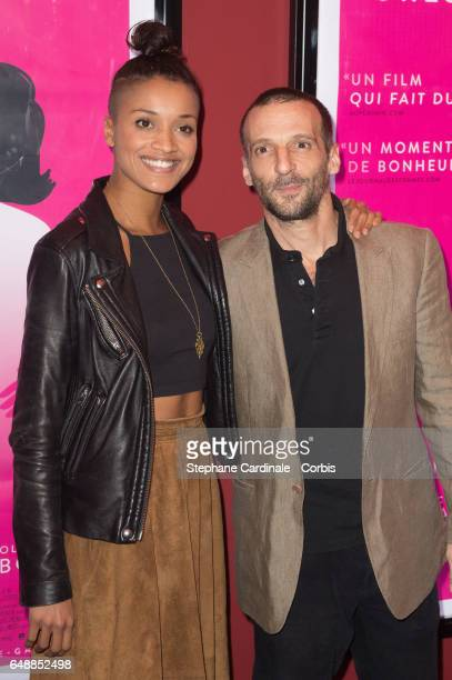"Mathieu Kassovitz and his companion Aude Legastelois-Bide attend the ""De Plus Belle"" Paris Premiere at Publicis Champs Elysees on March 6, 2017 in..."