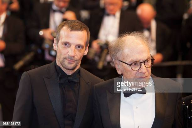 Mathieu Kassovitz and JeanLouis Trintignant attend the 'Happy End' red carpet arrivals during the 70th annual Cannes Film Festival at Palais des...