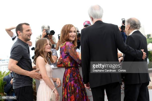 Mathieu Kassovitz Fantine Harduin Isabelle Huppert Michael Haneke and JeanLouis Trintignant attend the Happy End photocall during the 70th annual...