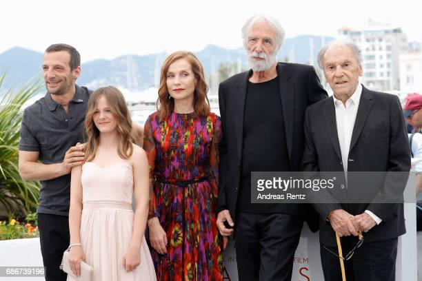 Mathieu Kassovitz Fantine Harduin Isabelle Huppert Michael Haneke and JeanLouis Trintignant attend the 'Happy End' photocall during the 70th annual...
