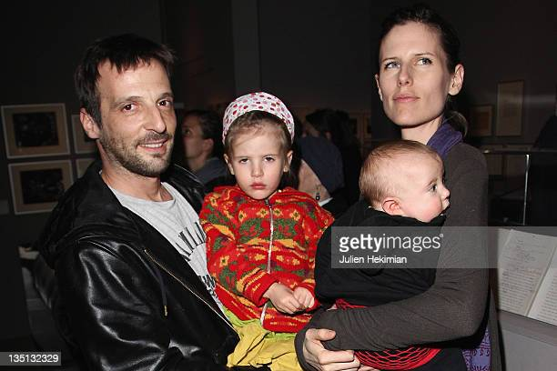 Mathieu Kassovitz his wife Aurore Lagache his daughter Ava and his son Max attend the Stanley Kubrick exhibition launch at la cinematheque on March...