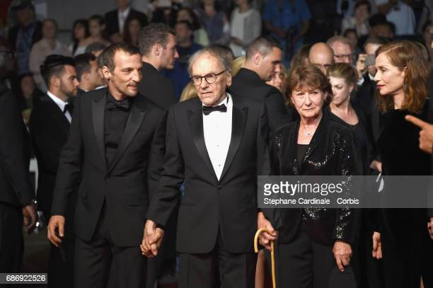 Mathieu Kassovitz JeanLouis Trintignant and Marianne Hoepfner attend the Happy End premiere during the 70th annual Cannes Film Festival at Palais des...
