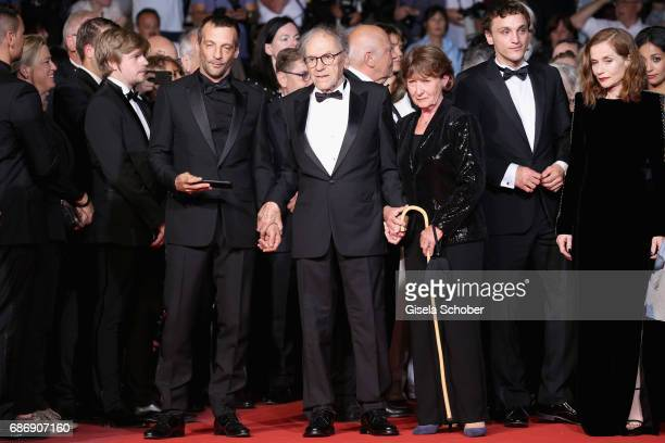 "Mathieu Kassovitz, Jean-Louis Trintignant, Marianne Hoepfner, Franz Rogowski and Isabelle Huppert attend the ""Happy End"" screening during the 70th..."