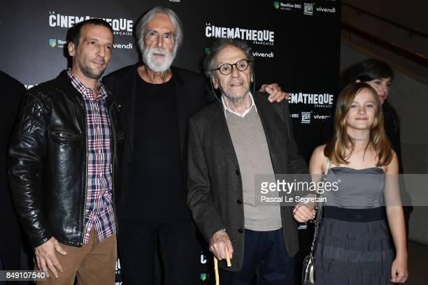 Mathieu Kassovitz Michael Hanecke Jean Louis Trintignant and Fantine Harduin attend 'Happy End' Paris Premiere at la cinematheque on September 18...