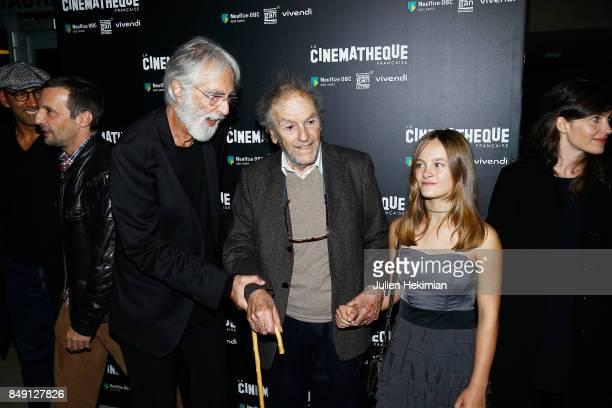 Mathieu Kassovitz Michael Haneke Jean Louis Trintignant and Fantine Harduin attend 'Happy End' Paris Premiere at la cinematheque on September 18 2017...