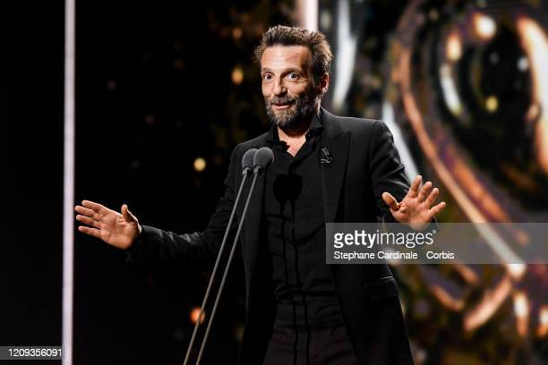 Mathieu Kassovitz on stage during the Cesar Film Awards 2020 Ceremony At Salle Pleyel In Paris on February 28, 2020 in Paris, France.