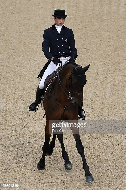 Mathieu Lemoine of France riding Bart L competes in the Eventing Team Dressage event during equestrian on Day 2 of the Rio 2016 Olympic Games at the...