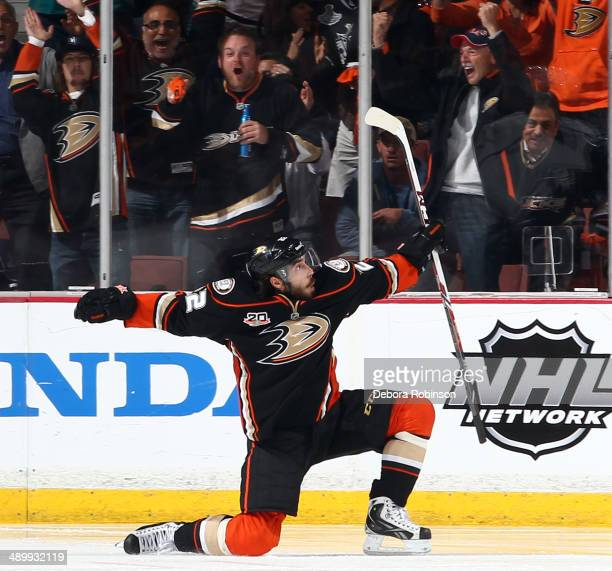 Mathieu Perreault of the Anaheim Ducks reacts after his second period goal against the Los Angeles Kings in Game Five of the Second Round of the 2014...