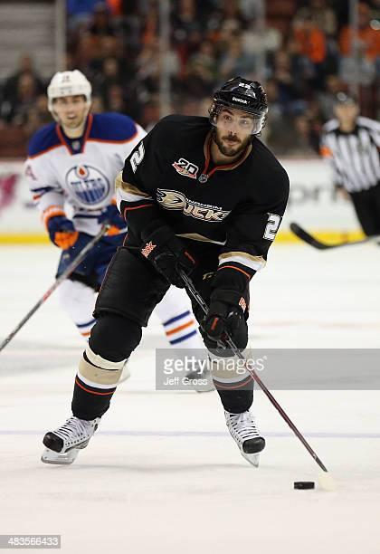 Mathieu Perreault of the Anaheim Ducks skates against the Edmonton Oilers at Honda Center on April 2 2014 in Anaheim California