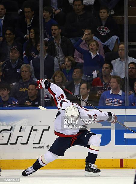 Mathieu Perreault of the Washington Capitals celebrates his goal at 1308 of the second period against the New York Rangers in Game Four of the...