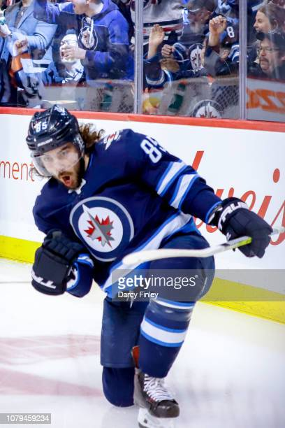 Mathieu Perreault of the Winnipeg Jets celebrates his first period goal against the Colorado Avalanche at the Bell MTS Place on January 8 2019 in...