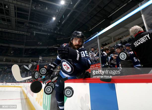 Mathieu Perreault of the Winnipeg Jets hits the ice for the start of the pregame warm up prior to NHL action against the Vancouver Canucks at the...
