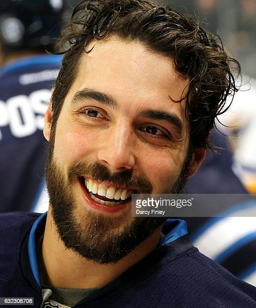 Mathieu Perreault of the Winnipeg Jets is all smiles during the pregame warm up prior to NHL action against the St Louis Blues at the MTS Centre on...