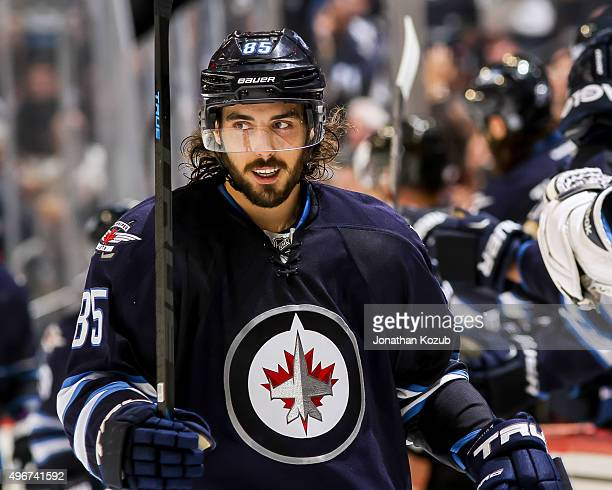 Mathieu Perreault of the Winnipeg Jets looks on during third period action against the Chicago Blackhawks at the MTS Centre on October 29 2015 in...