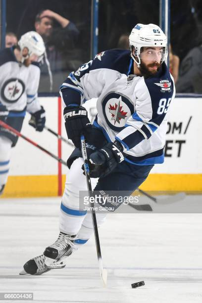 Mathieu Perreault of the Winnipeg Jets skates against the Columbus Blue Jackets on April 6 2017 at Nationwide Arena in Columbus Ohio