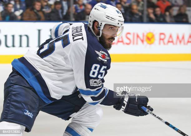 Mathieu Perreault of the Winnipeg Jets skates against the Toronto Maple Leafs during an NHL game at Air Canada Centre on February 21 2017 in London...